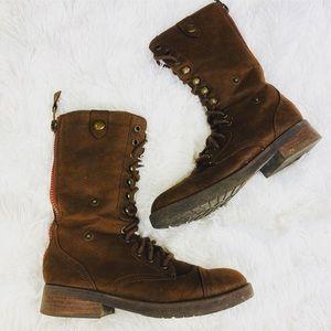 American Eagle combat brown Moto zip boot size 7